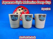 Japanese Style Melamine Gold Deep Cup (Tea Cup) - 3pcs/set B4002 (B179) New