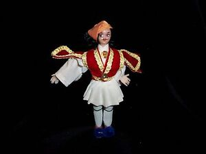 Greek Vintage 80's Male Doll In Traditional Greek Clothing 4.5 inch