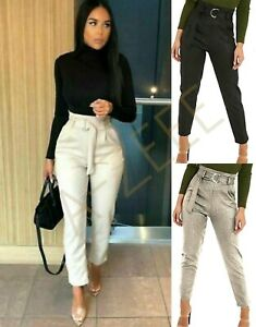 Women's Ladies Crocodile Snake Print Belted Party Slim Tapered Trousers UK