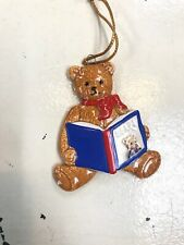 Schmid Bear Reading A Book Porcelain Made In Japan Ornament 1983