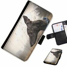 DOGB17 GREYHOUND DOG LEATHER WALLET/FLIP PHONE CASE COVER AVAILABLE FOR ALL MODE