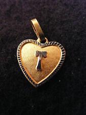 Pendentif Coeur Médaillon en Or Plaqué Lettre T 1,5 cm