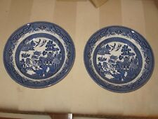 """Churchill of England - Blue Willow - 2 Soup Bowls - 7 3/4""""   New in Original Box"""