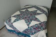 "Vintage 1994 AMISH QUILT Handmade Flower Star Pattern 108"" x 88"" Pennsylvania"