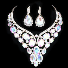 Women Crystal Pendant Necklace Earring Chain Bridal Prom Party Wedding Accessory