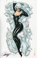 J SCOTT CAMPBELL signed BLACK CAT ART PRINT w COA MARVEL SPIDER-MAN