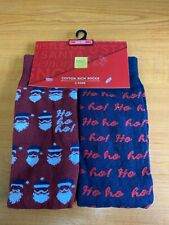 M&S Mens Cotton Rich 2 Pairs of Novelty Festive Christmas Socks