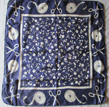 """Vintage 100% Silk Scarf Sewing Scissors Notions Navy Blue White 20"""" 1940s 1950s"""