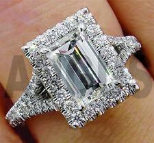 2.55ct Emerald Cut Forever Diamond Engagement Bridal Ring Halo 14k White Gold
