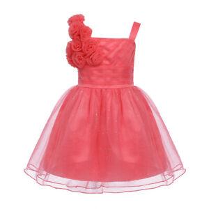 Baby Girls Glittery Dress Princess Pageant Wedding Birthday Party Ballroom Gown