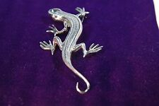 Solid Sterling Silver Mexico Lizard Gecko Salamnder Pin Brooch