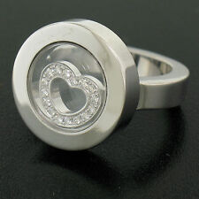Authentic Chopard 18k White Gold Floating Diamond Heart Heavy Happy Ladies Ring