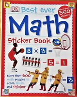 DK Best Ever Math Sticker Book Addition Subtraction Multiplication Division + Mo