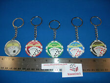 """SET OF 5 POKER CHIP KEY CHAINS ACES AND ROYAL FLUSH """"WELCOME TO LAS VEGAS"""""""