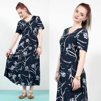 WOMENS VINTAGE 90'S NAVY BLUE FLORAL PATTERNED MAXI LENGTH GRUNGE DRESS 10
