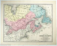Canada 1869 Map - British Provinces of Canada. Antique Original