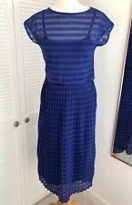 Warehouse Blue Striped Dress Size 10 Pleated Sleeveless Fit & Flare Sheer Midi