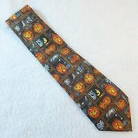 "Halloween Men's Necktie Pumpkins Spiders Bats 58"" x 3 3/4"" Tie Steven Harris"