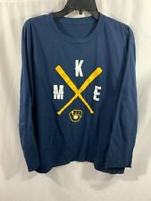 Milwaukee Brewers MKE Navy Blue Long Sleeve Tee Shirt Adult XL No Tag