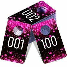 Live Plastic Number Tags Consecutive Live Number Tag Reusable 100 Rose Red