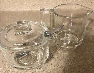 Vintage Clear Glass Sugar and Creamer Set Minimalist Italy