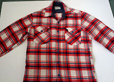vintage soft distressed red white blue plaid flannel long sleeve button shirt