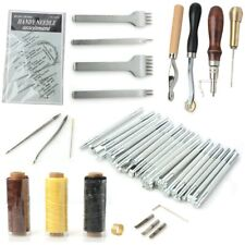 34Pcs Leather Craft Punch Tool Sets Kits Diy Hand Stitching Sewing Punch Carving