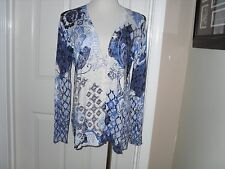 New Chico's Textured Floral Caitlin Cardigan Sweater Blue 2=12/14 Large NWT