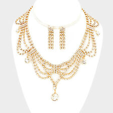 Beautiful Inticate Crystal Draped Design Cocktail Necklace Set Rocks Boutique