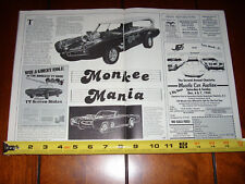 MONKEE MOBILE PONTIAC GTO DEAN JEFFRIES THE MONKEES  - ORIGINAL 1986 ARTICLE