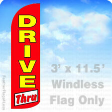 DRIVE THRU - Windless Swooper Feather Flag 3x11.5' Banner Sign - rq