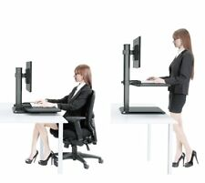Han &Alice Sit to Stand Workstation Dual Monitor Ergonomic Standing Desk Convert