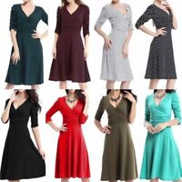 Women Work Long Sleeve Wrap V Neck Wrap Dress Work Business Knee Lenght Dresses