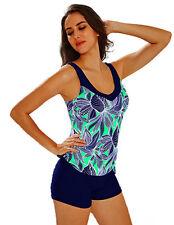 Maillot de bain femme - bikini Tankini Shorty - Bleu marine / Vert -  T. 44