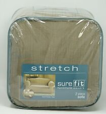 Sure Fit Stretch Pinstripe 2-Piece Sofa Slipcover -Taupe