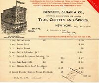 Aug. 19th 1905 Bennett Sloan & Co. Teas Coffees and Spices origina paper invoice