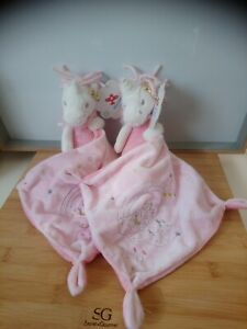 Lot 2 doudou licorne blanc rose pois dorés étoiles mouchoir Nicotoy Simba neufs