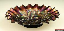 Antique Northwood Purple Peacock Iridescent Raise Strawberry Carnival Glass Bowl