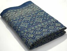 Twin Size Hand Stitch Kantha Ajrakh Bed-cover Bohemian Kantha Ajrakh Quilt