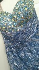 """Blue bead sequin """"Blush"""" prom formal dress size 4 comparable to sherri hill"""