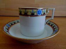 Early 19TH CENTURY Berlino il caffè può e piattino dipinto a mano BORDI GIALLO