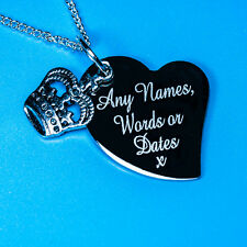 Personalised Custom Names Words King Queen Crown Charm Pendant Necklace Gifts