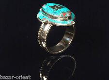 Traditioneller Tibetischer Türkis Ring tibetan turquoise ring neusilber  Nr.26