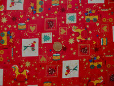 RED WITH TOYS,TREES & POLAR BEARS - COTTON FABRIC LARGE FQ