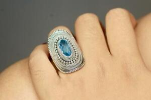 Handmade Solid Sterling Silver .925 Bali Large Dome Statement Ring w Blue Topaz.