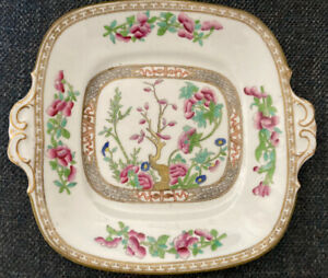 Indian Tree Pattern Cake Plate, with side handles 10 inch wide No Markers Mark