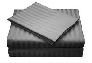 All Bedding Sets Item Choose Size & Item Dark Gray Stripe 1000 Thread Count