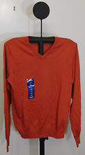 IZOD Men's Campus Long Sleeve V-Neck Sweater Roobios Tea Orange - Size Small