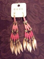 """REDUCED Beautiful Faux Coral Dangle Earrings 4 1/2"""" long Pink and Rose color"""