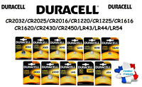 Piles boutons lithium Duracell CR2032/2025/2016/1616/1620/1220/2430/LR44/LR54